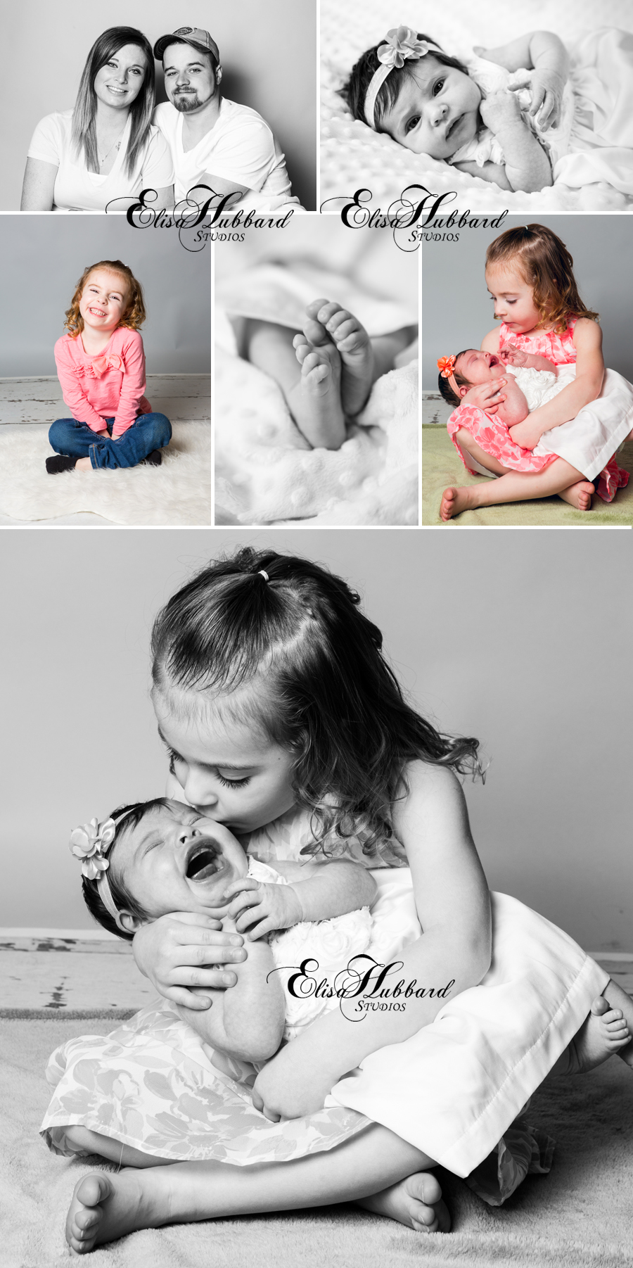 Elisa Hubbard Studios, Child Photography, Newborn Photography, Studio Photography, Family, Sisters, Portrait Photography